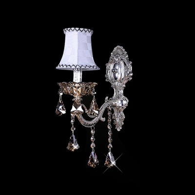 Sophisticated Single Light Wall Sconce Features Delicate Back Plate and Fabric Hardback Shade