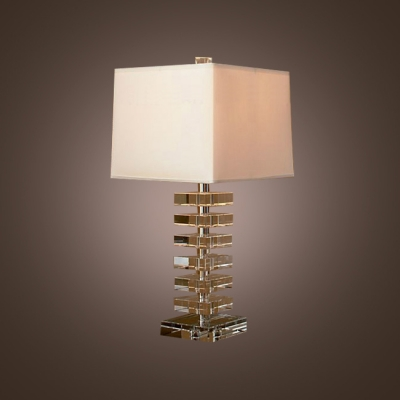 Sophisticated Table Lamp Design Combines Sparkling Crystal And White Square  Lamp Shade ...