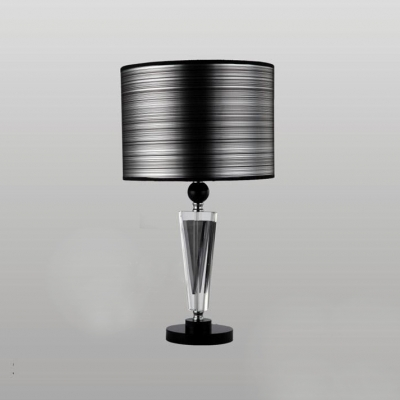 Sophisticated Table Lamp Set Featuring Crystal Center Topped With Black  Drum Shade ...