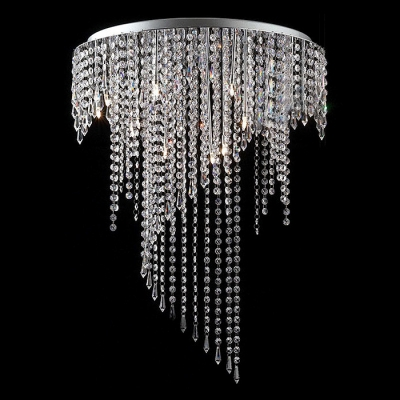 Sparkling Crystal Beads Curtain Chrome Finished Stainless Steel Canopy 9-Light Flush Mount