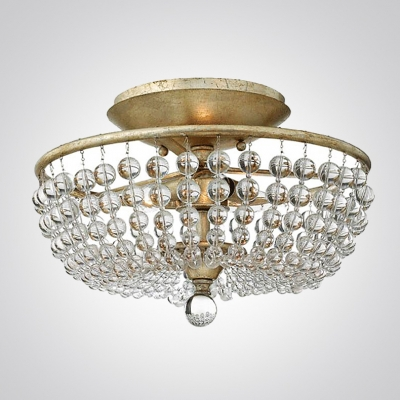 Strands Of Clear Crystal And Br Finish Frame Add Elegant To Stunning Semi Flushmount Ceiling