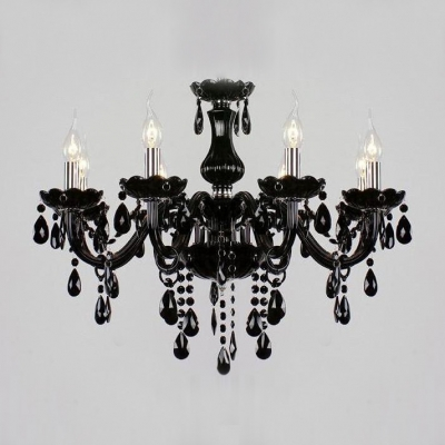 Traditional and mysterious jet black floral bobeche hanging crystal traditional and mysterious jet black floral bobeche hanging crystal chandelier mozeypictures Images