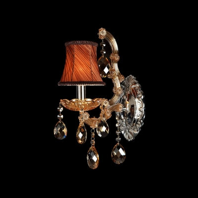Unique Design with Clear Crystal and Single Candle-style Light Formed Dramatic LuxuriousWall Sconce
