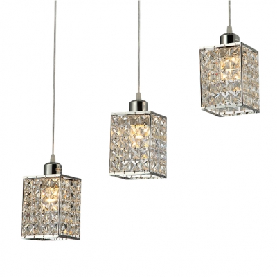 3 Light Square Stunning Crystal Pendent Lights For Kitchen And Dining Room