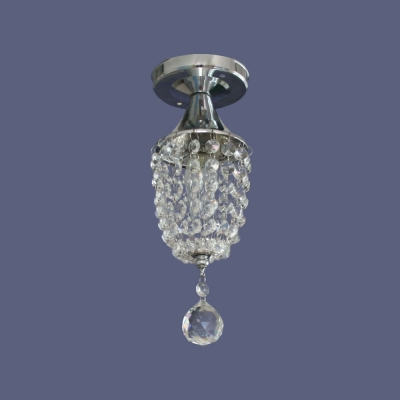 4'' Wide Stunning Semi Flush Ceiling Light Adorned with Crystal Beads and Polished Chrome Finish