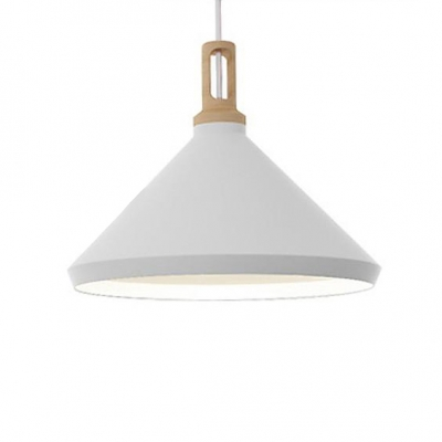 Large Pendant Lighting With Wood Holder, Aluminum Modern And Chic White Finished