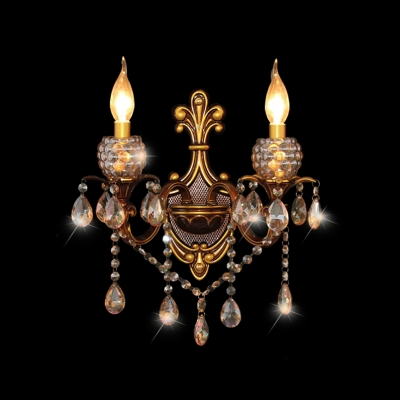 Beautiful Hand-painted Antique Brass and Clear Crystal Highlight Luxury Dazzling Wall Sconce