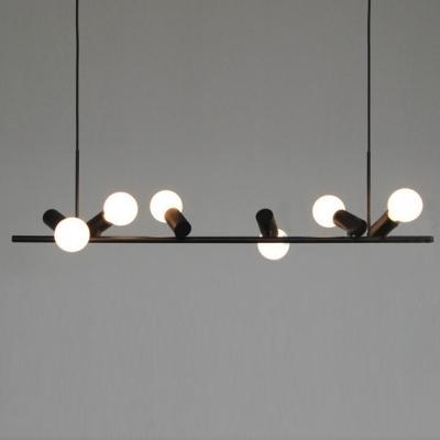 Black Linear 6-light Novel Mini Bulbs Island  Pendant