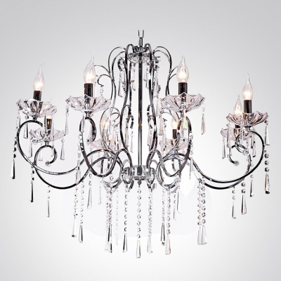 Chrome Finished 8-Light Crystal Strands and Droplets Contemporary Chandelier
