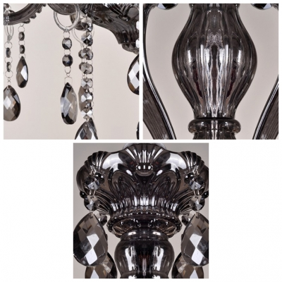 Classic and Elegant Candle Style 6 Lights Chandelier Hanging Smoky Crystals