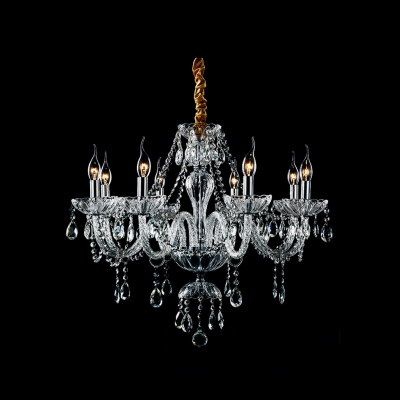 Clear Crystal Strands and Droplets Waterfall 8-Light Resplendent Chandelier