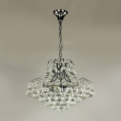 Cluster of Graceful Clear Crystal Spheres Metal Curved Frame 17.7