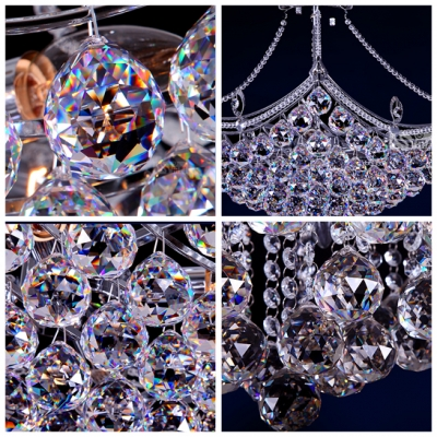 Contemporary Chrome Finished and Crystal Balls Hanging Together Semi-Flush Mount