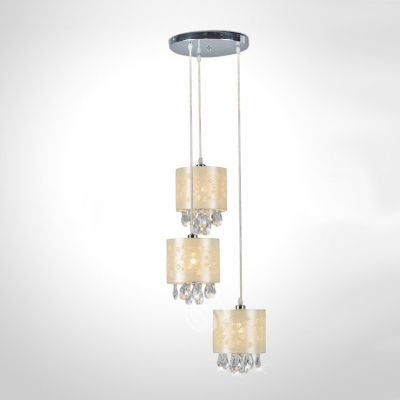 Baycheer / Delicate Beige Fabric Shades and Clear Crystal Drops Add Charm to Graceful Multi-Light Pendant