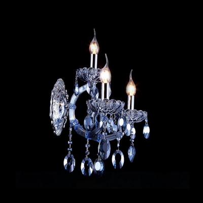 Elegant Blue Crystal and Chrome Add Charm to Stunning Three Light Wall Sconce
