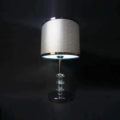Eye Catching Modern Table Lamp Features Grey Fabric Shade With Black Edging  And Beautiful Crystal
