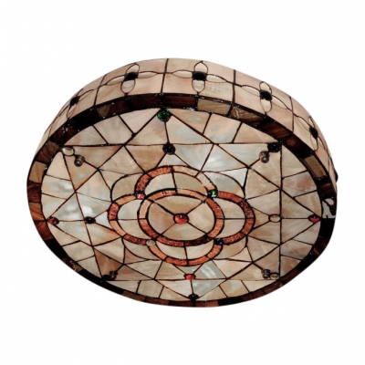 Fancy Three Lights Floral Shell-made Shade Tiffany Flush Mount Ceiling Light