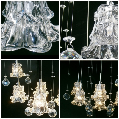 Four Clear Crystal Shades Lend Charm to Multi Light Pendant Fixture Stunning Appeal