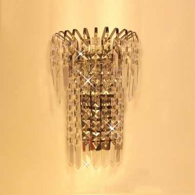 Give Your Wall Decor a Boost with Elegant Silver Finish Crystal Wall Sconce