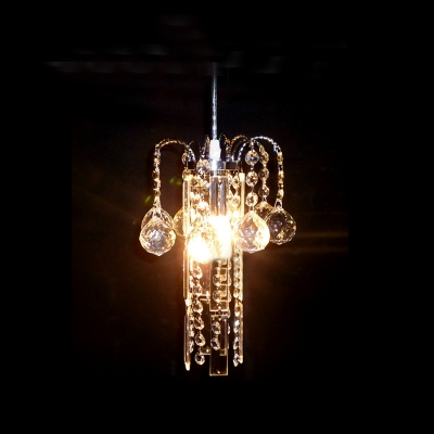 Glimmering Modern Chandelier with Round Metal Frame and Strands of Clear Crystal Beads and Faceted Orbs