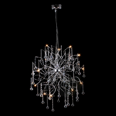 glistening crystal globes falling chrome finished metal branches whimsical crystal pendant light