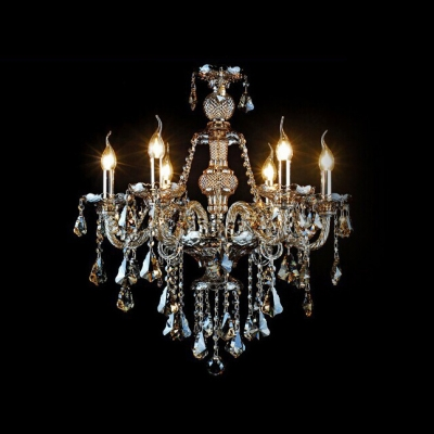 Gorgeous Amber Crystal Droplets and Strands 6-Light  Classic Crystal Chandelier