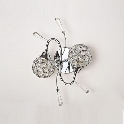 Graceful Faceted Clear Crystals Adorned Metal Frame Made Luxurious Two Lights Wall Sconce Lovely Choice for Hallway and More