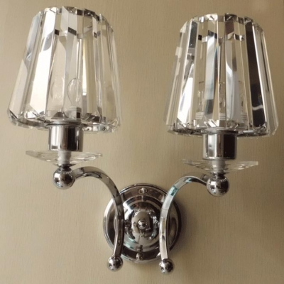 Graceful Scrolls and Crystal Bobeche Add Glamour to Delightful Two-light Wall Sconce