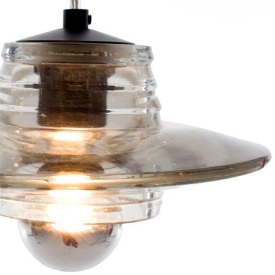 Lid Shaped Pressed Clear Glass Designer Pendant Light for Dining Room 8
