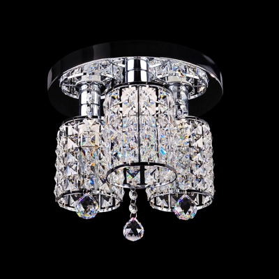 Luxury Semi Flush Ceiling light Sparkles with Faceted Cut Crystal with Three Lights