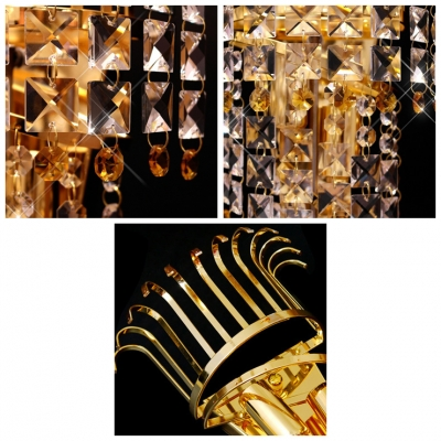 Modern Crystal Two-light Wall Sconce Embellished with Clear Crystals Create Graceful Shimmer