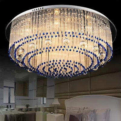 Romantic Blue Crystal Beads and Bright Clear Crystal Falling 15.7'High Flush Mount