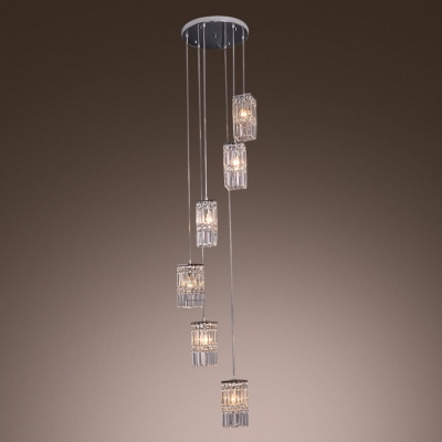 Six Sparkling Crystal Cubes Enhanced with Chrome in Modern Multi Light Pendant