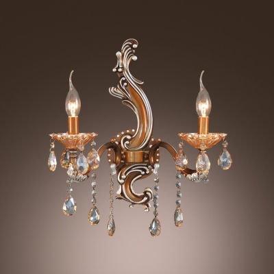 Sophisticated European Style Crystal Beading and Drops add Charm to Unparalleled Wall Sconce
