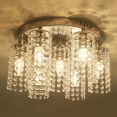 Sparkling Crystal Strands Shade  Flush Mount Light with 15.7