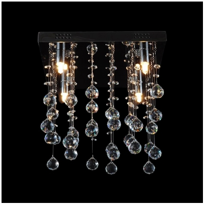 Square Canopy Suspended Crystal Spheres and Beads 11.8