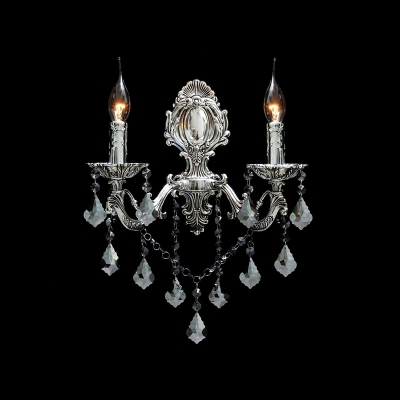Striking Two Candle-style Light Wall Sconce Features Delicate Silver Detailing and Beautiful Crystal Drops