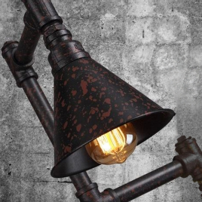 Three Lights Industrial Retro Pipe Accent Floor Lamp with Cone Shades