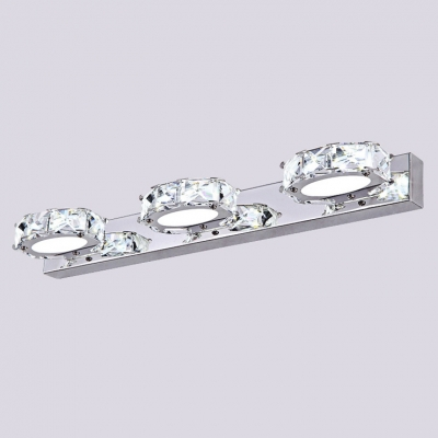 With Pure Sparkle and Graceful Modern Form Elegant Bath Light Brightens with Glittering Clear Crystal