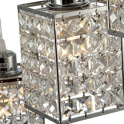3-Light Square Stunning Crystal Pendent Lights for Kitchen and Dining Room