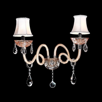 A Handsome Traditional Wall Sconce Complete with Scrolling Arms and Crystal Drops
