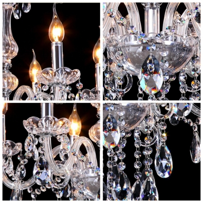 All Clear Crystal and Dizzying Crystal Droplets 6-Light Classic Chandelier Ceiling Light