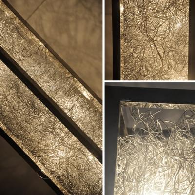 Aluminum Wire Adorned Long Standing Rectangle Floor Lamp