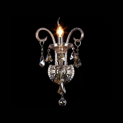 Beautiful Scrolling Arms Crystal Single Candle-style Light Formed Vase-style Wall Sconce