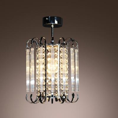 Bold and Elegant Golden Crystal Strands Cylindrical Design Mini Pedant Lighting