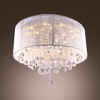 Brilliant Design Stainless Steel Canopy 5-Light Soft and White Sheer Shade Flush Mount Lights
