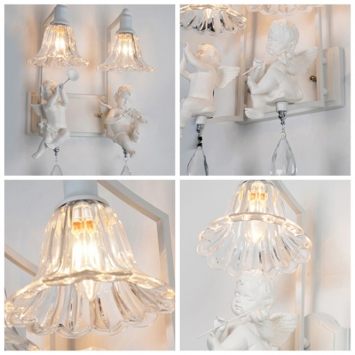 Charming Double Light Wall Sconce Adorned with Pure Angles and  Beautiful Crystal Drops