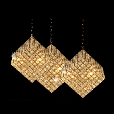 Cube Glittering Crystal Beads Large Pendant Light Shine