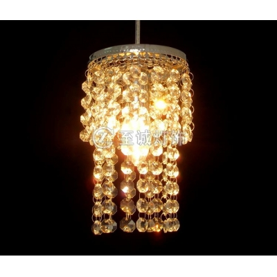 Distinctive Mini Pendant Chandelier Features Strands of Clear Crystal Matched with Silver Finish Frame