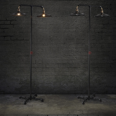 Double Headed LOFT Black Finished Industrial LED Floor Lamp
